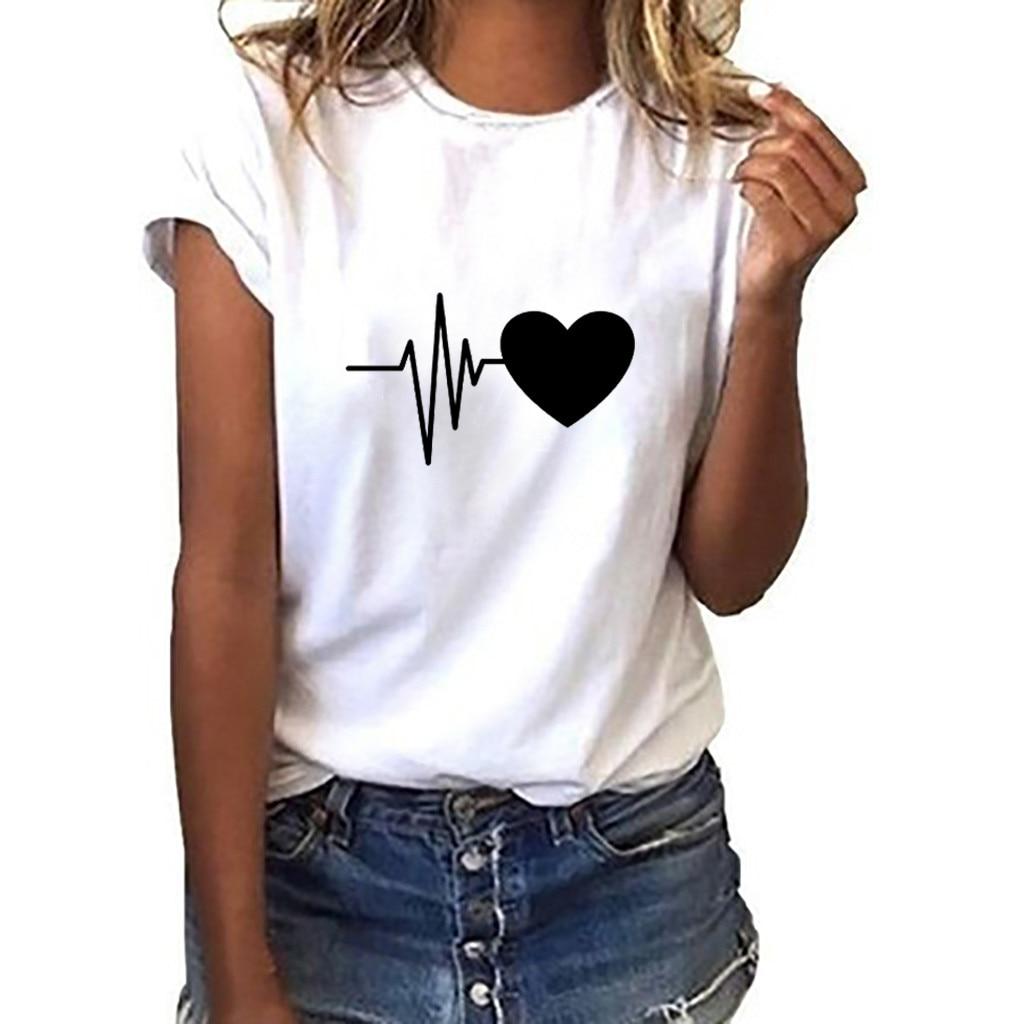 Women's T-shirt retro T-shirt ladies Basic Harajuku short-sleeved heart-shaped printed T-shirt casual O-neck top shirt ropa muje