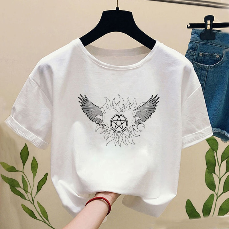Supernatural Winchester Bros T Shirt Women summer streetwear T-Shirts top Hip Hop women's T-Shirts Casual O-neck ladies T-shirt