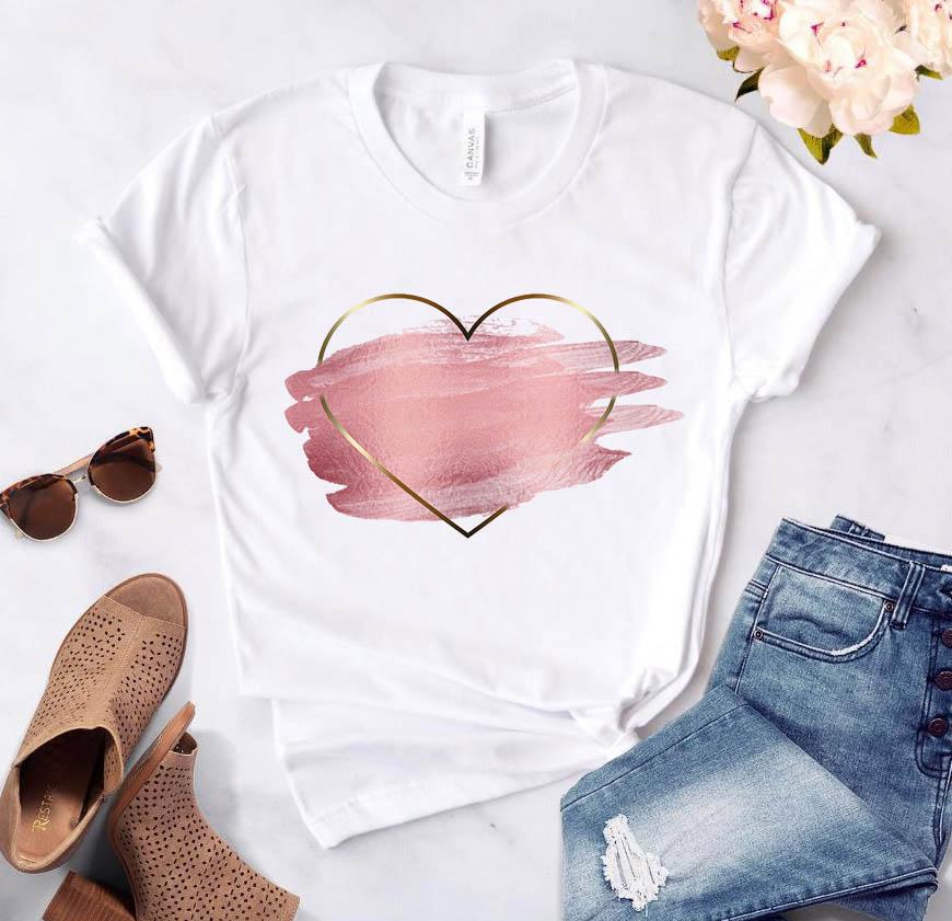 Women's T-shirt Heart Flower Print Women's Casual Summer T-shirt Basic O-neck White Short Sleeve Women's T-shirt Love Graphics