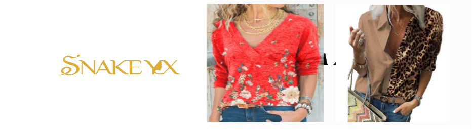 Snake YX Women's Clothing Autumn and Winter New Fashion Women's V-neck Flower Print Long-sleeved Casual Loose T-shirt Plus Size