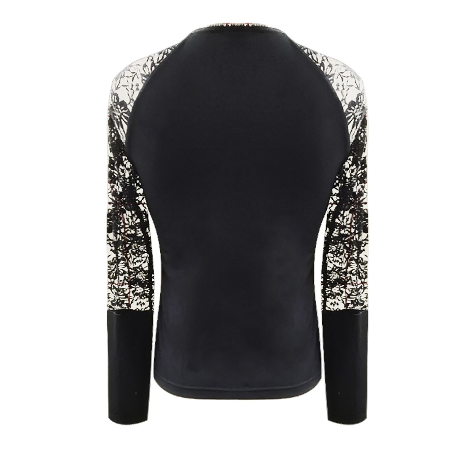 Zip V-neck Sexy T-shirt Women's Fashion Sexy Lace Zipper Long Sleeve Solid Color Pullover Tops Spring And Autumn Solid Color