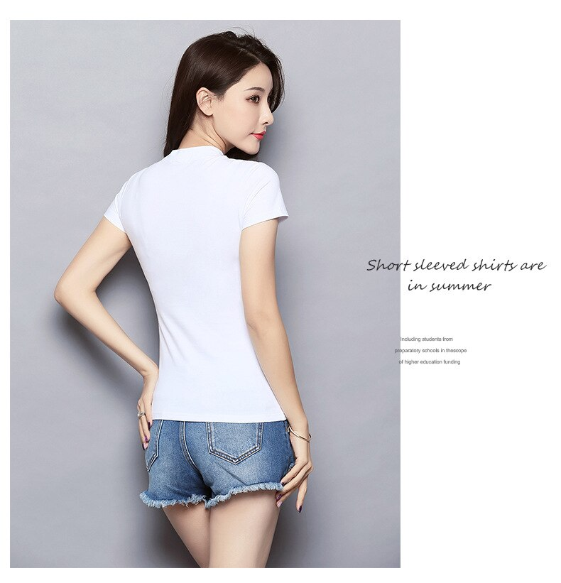 MRMT 2021 Brand New Women's T-Shirts Half High Collar Pure Color Short-sleeved Womens T shirt for Female Woman T-shirt Clothing