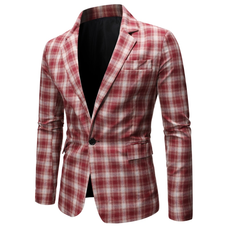 Men's Casual Plaid Checked One Button Suit Jacket 2020 Brand Slim Fit Business Formal Dress Blazer Men Party Casual Blazers XXL