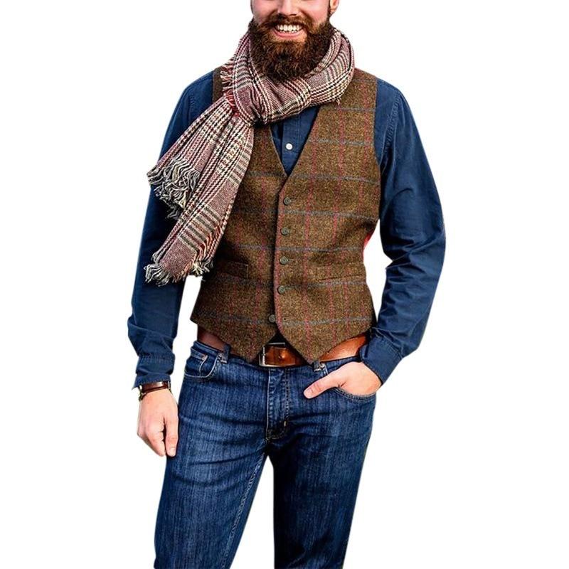 Men's Suit Vest Boutique Plaid  Slim Fit Leisure Cotton Male Gentleman Beckham Business Waistcoat for Wedding Groomsmen