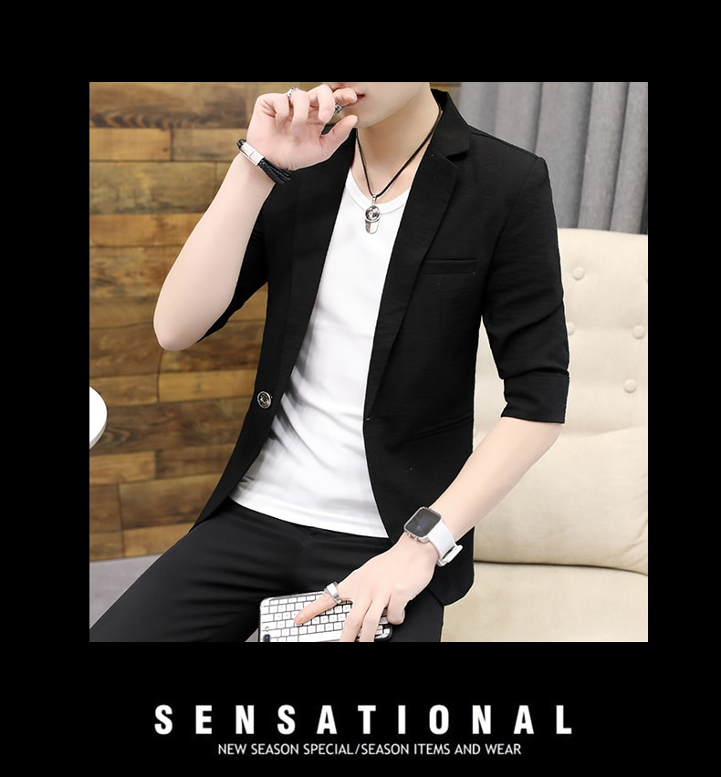 Men's mid-sleeve suit summer Korean version of solid color three-quarter sleeve small suit men's evening slim thin single wester
