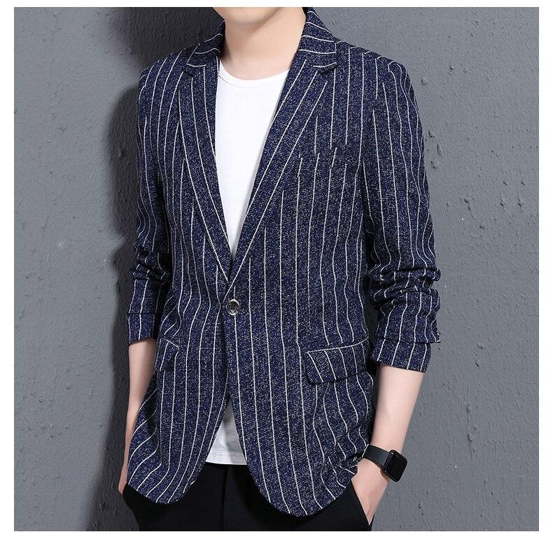 2019 Brand clothing Men's Long Sleeve Suit Jackets Slim Design Blazer Men Business Wedding Party Male stripe Suit Coats S-3XL