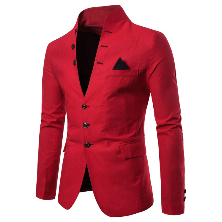 Mens Suits Blazers Euro Size 2019 Spring Autumn Multi-button Decorative Men's Casual Stand-up Collar Suit