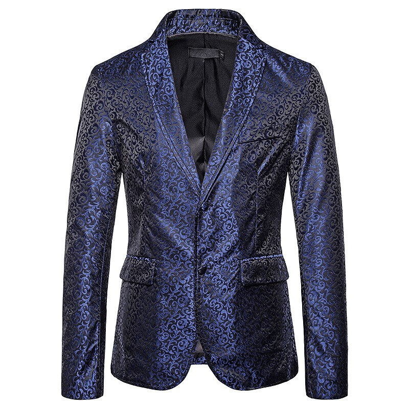 Formal White Printing Male Groom Wedding Slim Fit Suits Business Offer Men's Single-breasted Blazer Jacket Man Party Talicoat