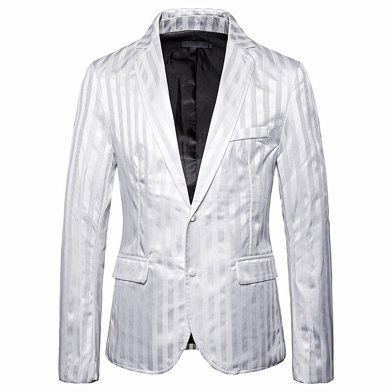 Casual Fashion White and Black Vertical Stripes Slim Fit Men's Blazer Jacket Presenter Male Stage Costumes Men Banquet Talicoat