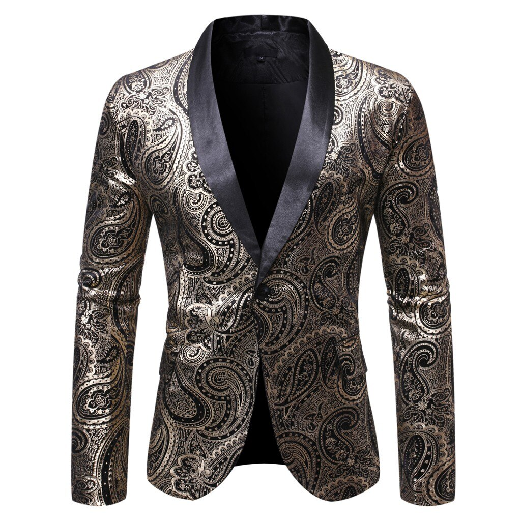 Vogue Stylish Men's Blazers Fall Slim Fit Formal Long-sleeved men's Pop Stamping Casual Hit Color One Button Suit Jacket