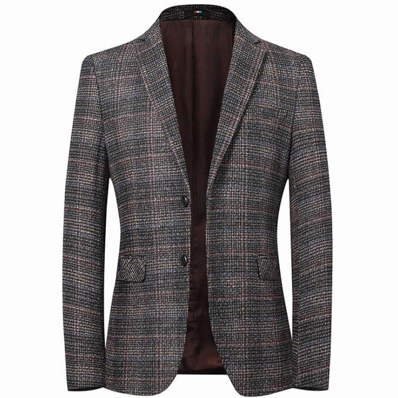Mens Plaid Suits Blazer Leisure Jacket Outer Men Brown Blazers Slim Plus Size XXXXL Men's Coat Male Outerwear Casual Tops