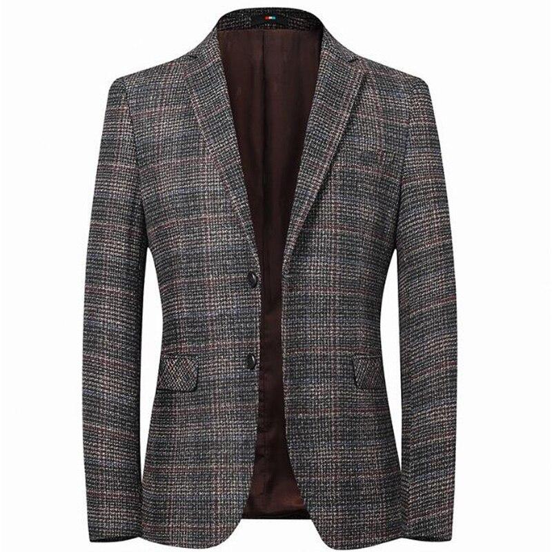 High Quality Men's Blazer Striped Jacket Elbow Patch Blazer Tweed Blazers Coat Business Casual Overcoat