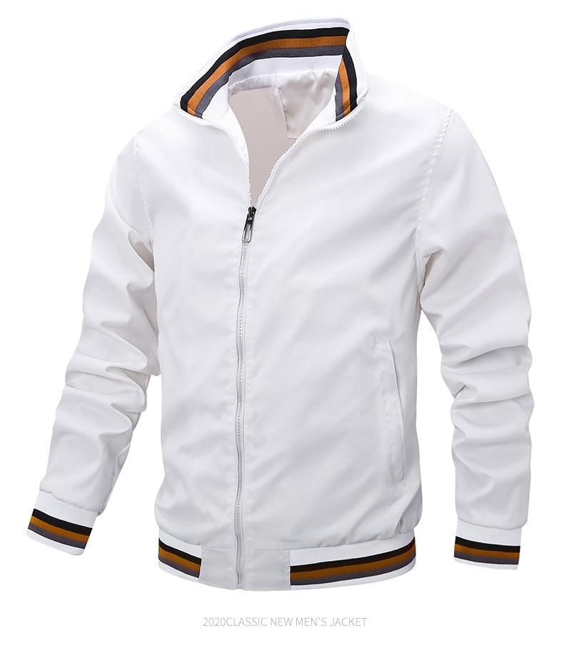 2021 Spring New Men White Casual Jacket Fashion Windbreaker Bomber Jacket Men Military Coat Outdoor Sportswear Jacket Men