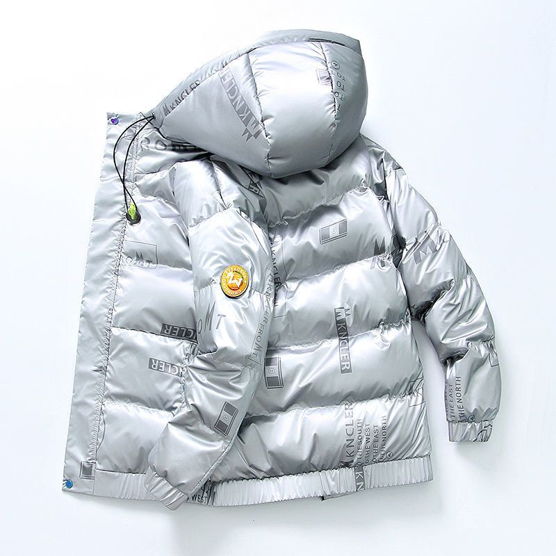 White duck down jacket men's winter Korean version of the trend of thickening short shiny coat casual youth stand-up collar men