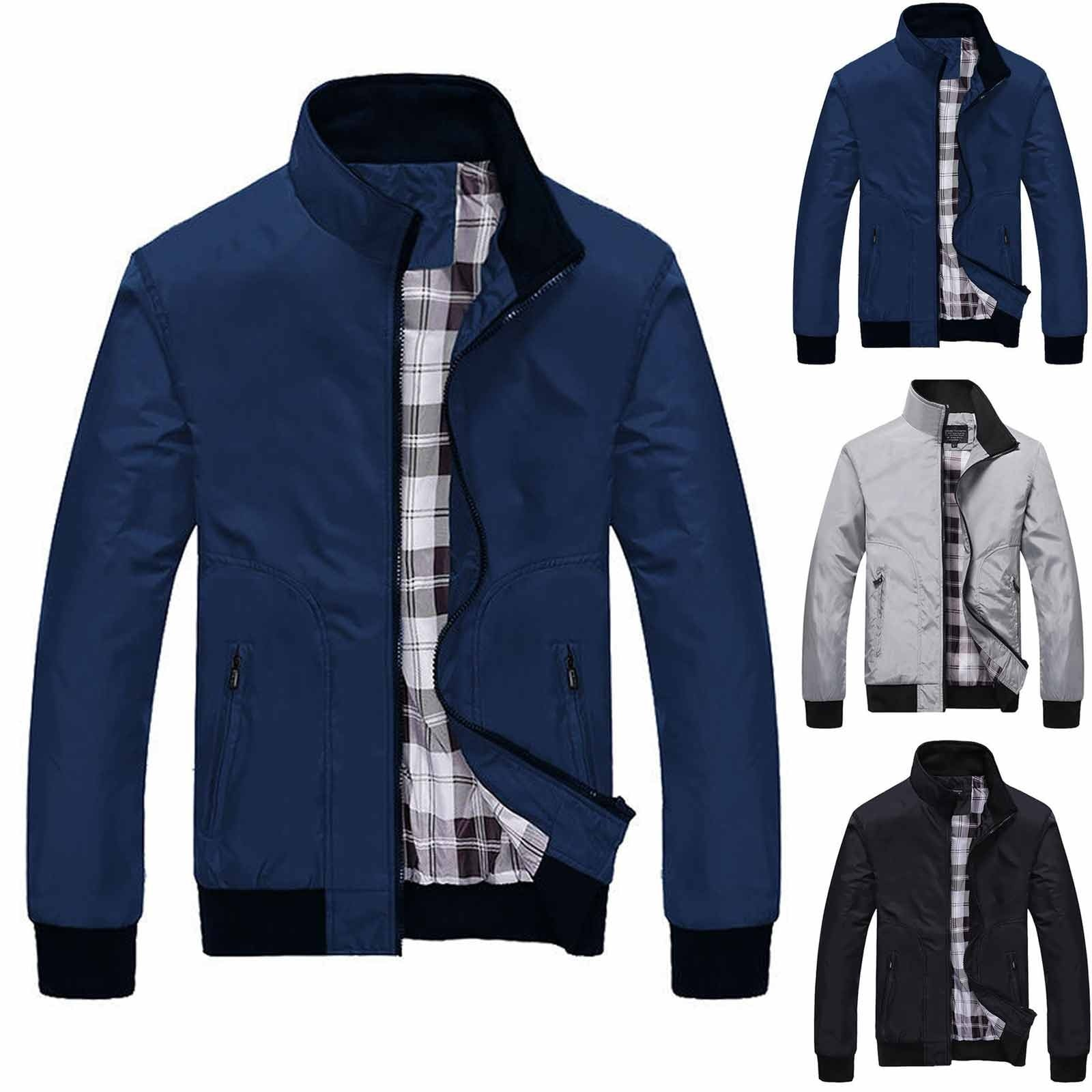 Men's autumn and winter casual zipper solid color cashmere thickened jacket casual zipper stand collar jacket мужская куртка 6*