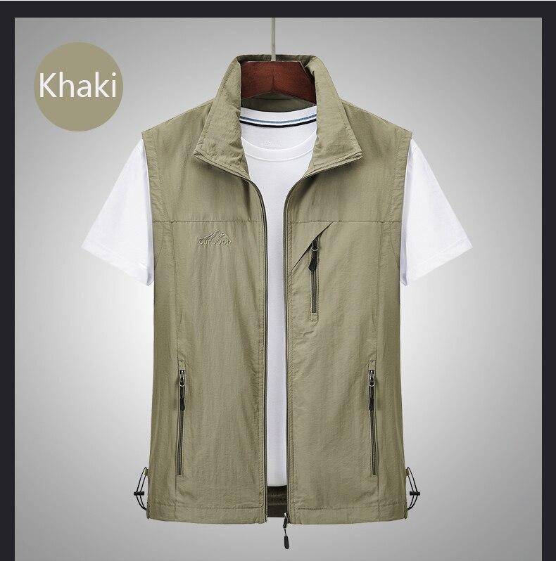 Men Multi-Pocket Fishing Vest Classic Waistcoat Man Sleeveless Jacket Solid Coat Work Vest Tactical Masculino Jacket Size M-5XL
