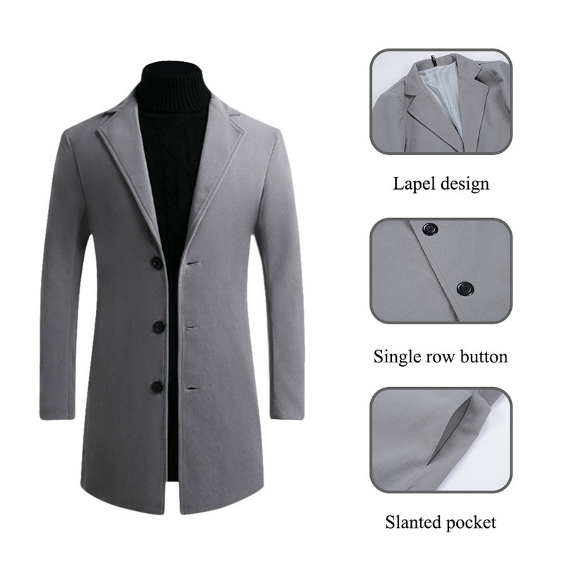 DIHOPE 2020 Men Wool Blends Coats Autumn Winter New Solid Color High Quality Men's Wool Jacket Luxurious Brand Clothing