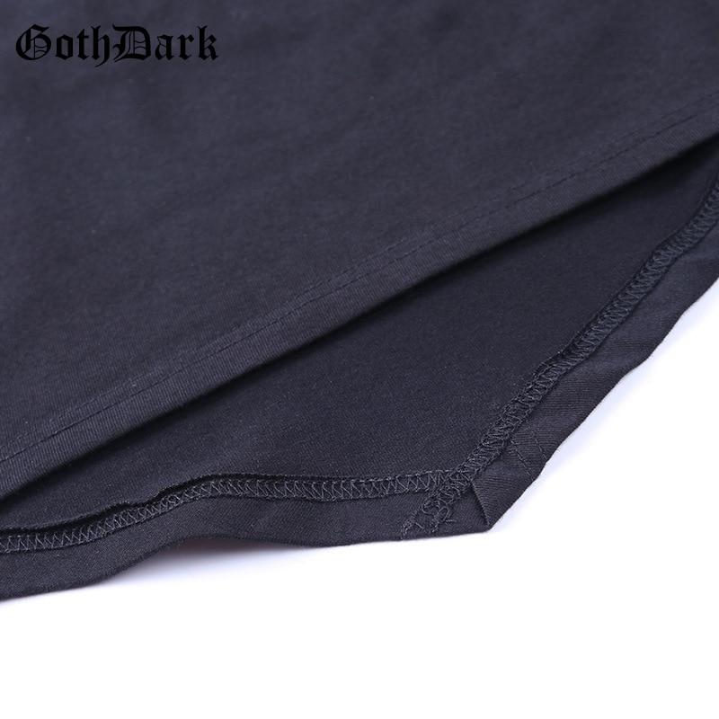 Goth Dark Gothic Bandage T-shirts Punk Black Ruffles Flare Long Sleeve Asymmetrical Hem O-neck Women Crop Tops Tee Casual Wear