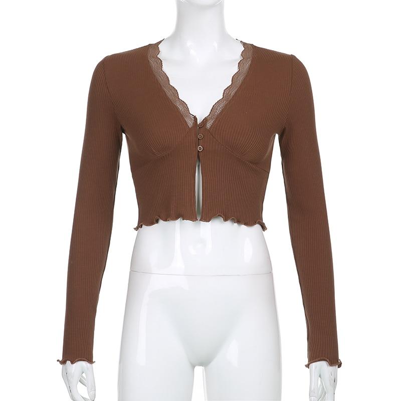 ALLNeon E-girl Sweet Deep V-neck Lace Trim Crop Tops Y2K Fashion Slit Hem Long Sleeve Brown T-shirts Vintage 90s Aesthetics Top