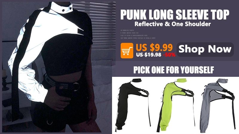 Rockmore Double Zipper Chain Tshirt Women Black Gothic Crop Top Long Puff Sleeve Square Collar Backless Shirts Casual T-shirt