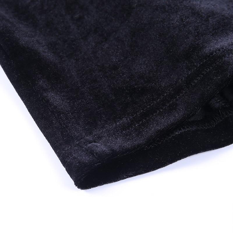 InsGoth Vintage Lace Black T Shirt Goth Aesthetic Long Sleeve Velvet T-shirt Women Harajuku Sexy Slim Bandage Long Sleeve Tops