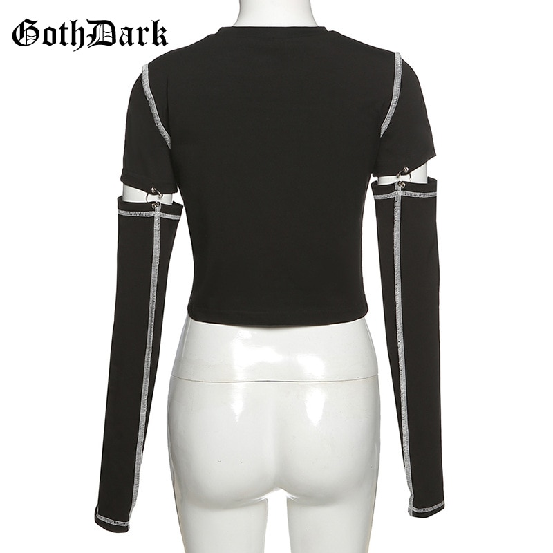 Goth Dark Punk Style Black Patchwork T-shirts Gothic Hollow Out With Rivet Long Sleeve T-shirt For Women Bodycon Streetwear Tops