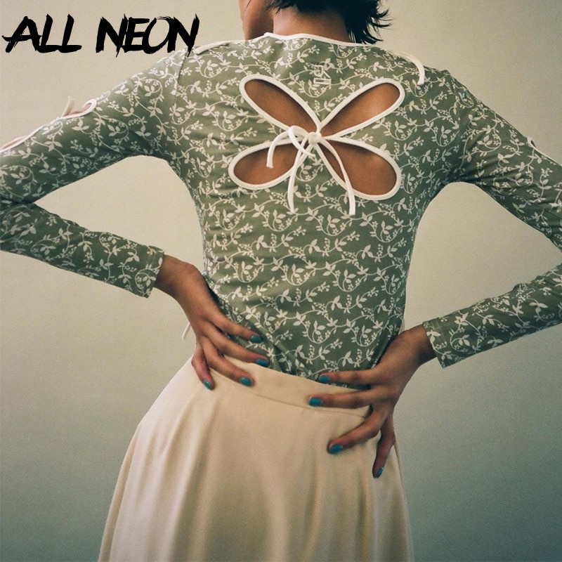 ALLNeon Vintage Butterfly Hollow Out Bandage Long Sleeve T-shirts Streetwear 90s Print O-neck Green Tops Y2K Fashion Outfits