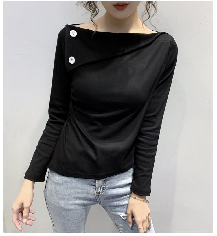 Summer T Shirt Women Fashion Tshirt Female Clothing Solid Long Sleeve Cowl Neck Girls Cotton Tees For Femme T-Shirt Tops T07612B