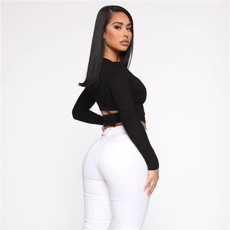 Summer 2021 New Women's Black White Long Sleeves Sexy Tops Crop Top T shirt Female Gallus Lady Wear