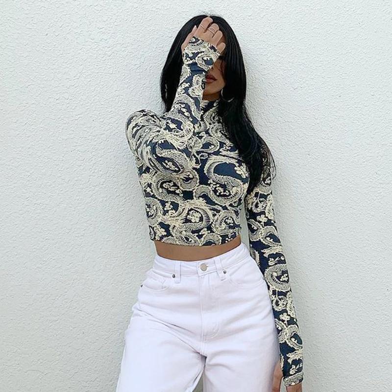 HEYounGIRL Dragon Print Turtleneck Crop Top Tshirt Women Casual Skinny Long Sleeve T-shrit Ladies Fashion Streetwear Tee Shirts