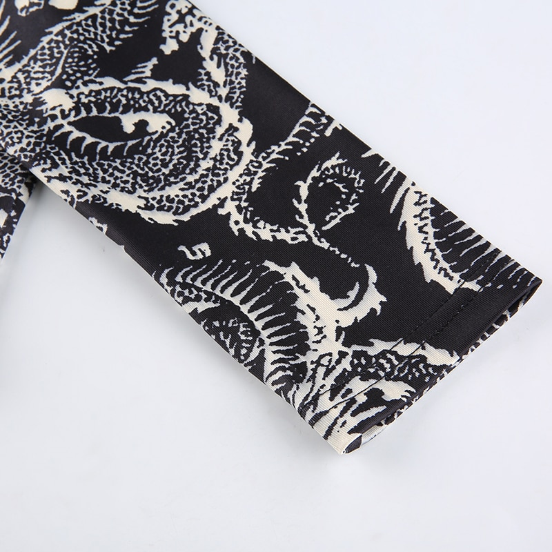 Goth Dragon Print Y2k Femme Turtleneck Women's T-Shirts Clothing 2020 Gothic Aesthetic Crop Top Harajuku Skinny Long Sleeve Tee