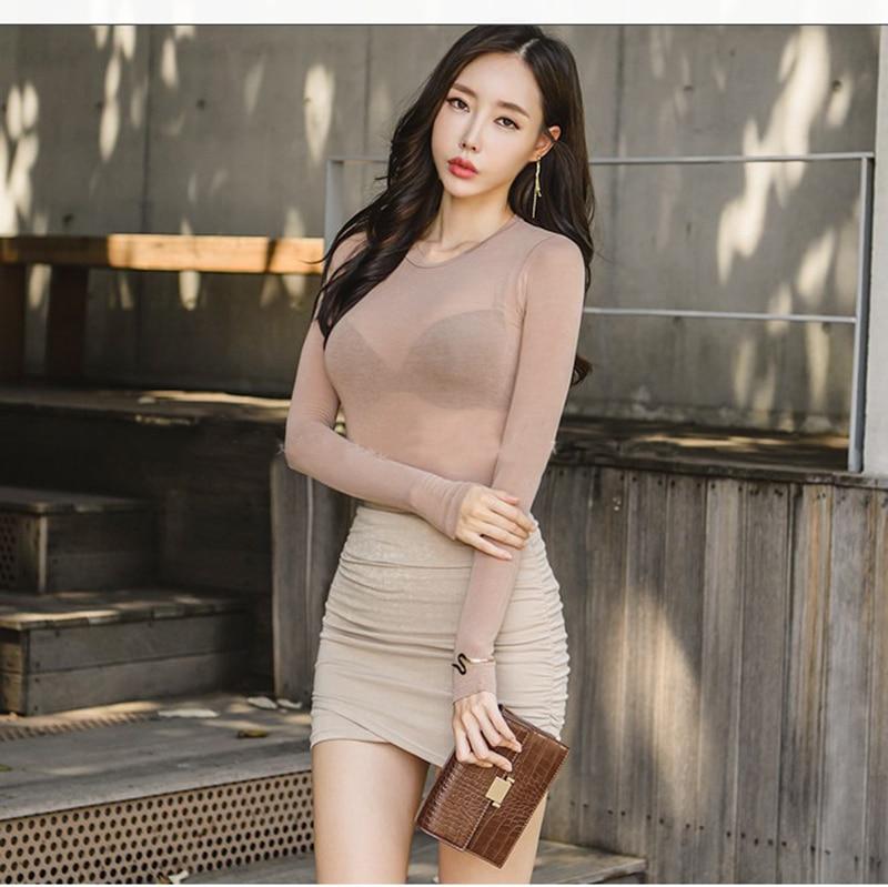 Summer Fashion Round Neck Tops Long Sleeve Cotton T Shirt Slim T-shirt Women 2021 Basic Korean Tees Sexy Thin T-shirt See Throug