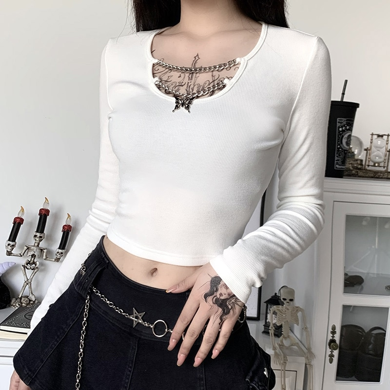 InsGoth Knitted Long Sleeve Crop Tops Gothic Punk Bodycon Butterfly Pendant Women T-shirts Lady Solid Black White Basic Top