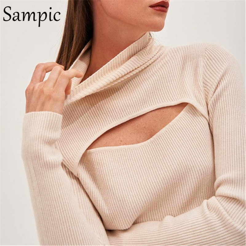 Sampic Autumn Turtleneck Elastic Hollow Out Long Sleeve Sexy Women T Shirts Tops Basic Tees Streetwear Beige Cropped T Shirt