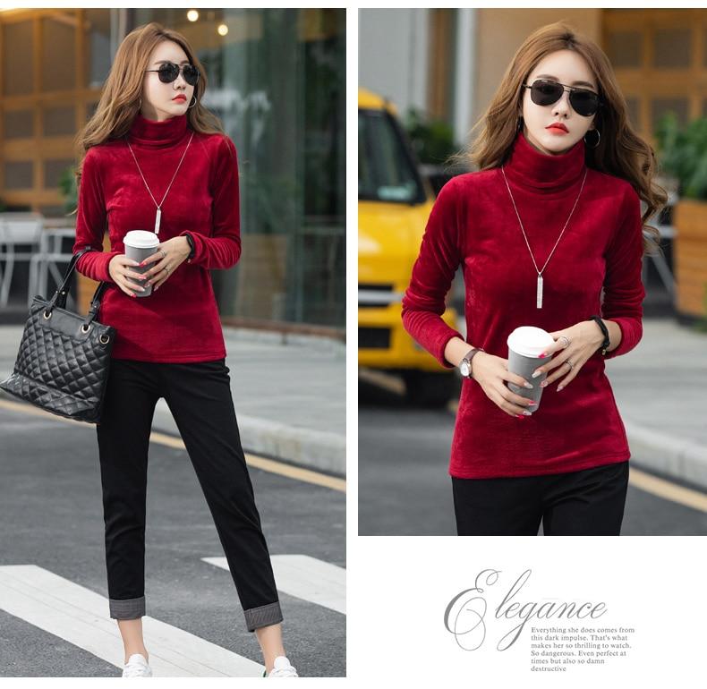 Turtleneck Velvet Fleece T shirt Women Solid Tops Stretchy Long Sleeve Plus Size S-4XL Spring Autumn T-shirt Bottoming T90394