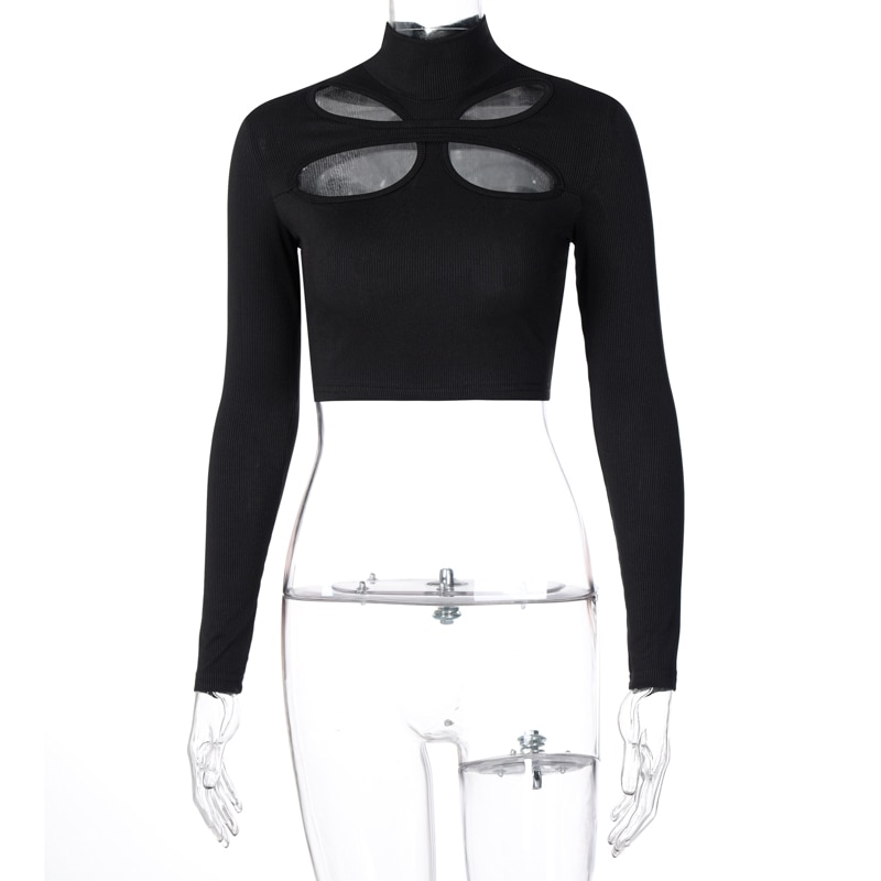 Dulzura Ribbed Hollow Out Women Crop Top T Shirt Long Sleeve Turtleneck Solid Bodycon Sexy Streetwear Elegant 2020 Autumn Winter
