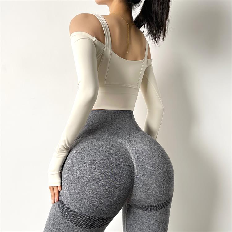 Women Strapless Sports Shirts Long Sleeve Dry Tank Top Gym T-shirt Athletic Active Fitness Workout Running  Sportswear