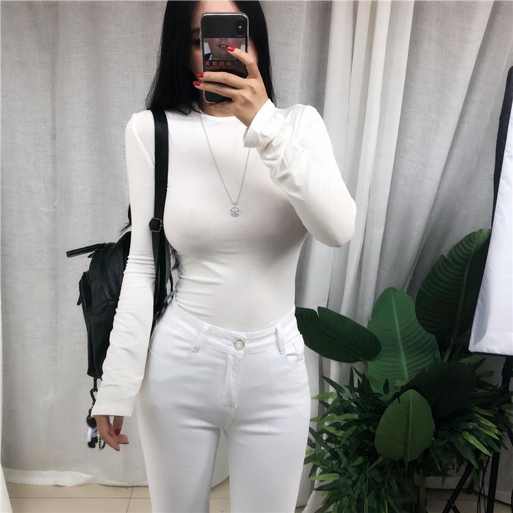 New Spring Top Sexy T Shirt Women Elasticity T-Shirt Korean Style Tee Woman Clothes Slim Tshirt Female Skinny Long Sleeve Tops