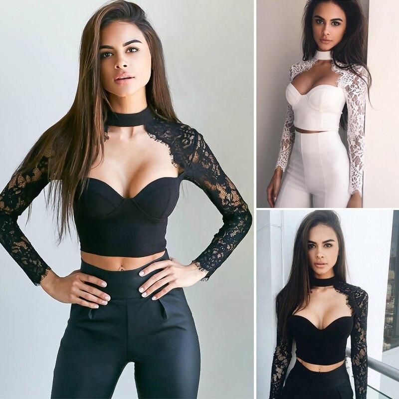 Women Apparel Summer style elegant black lace crochet crop top Girls Long sleeve Black blause Women sexy hollow out shirt tops
