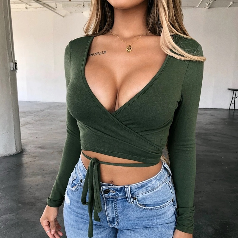 ArtSu Sexy Bandage V Neck T Shirt Women Long Sleeve Lace Up Solid Skinny Crop Tops Clubwear Ladies Basic Tees Summer Top 2020