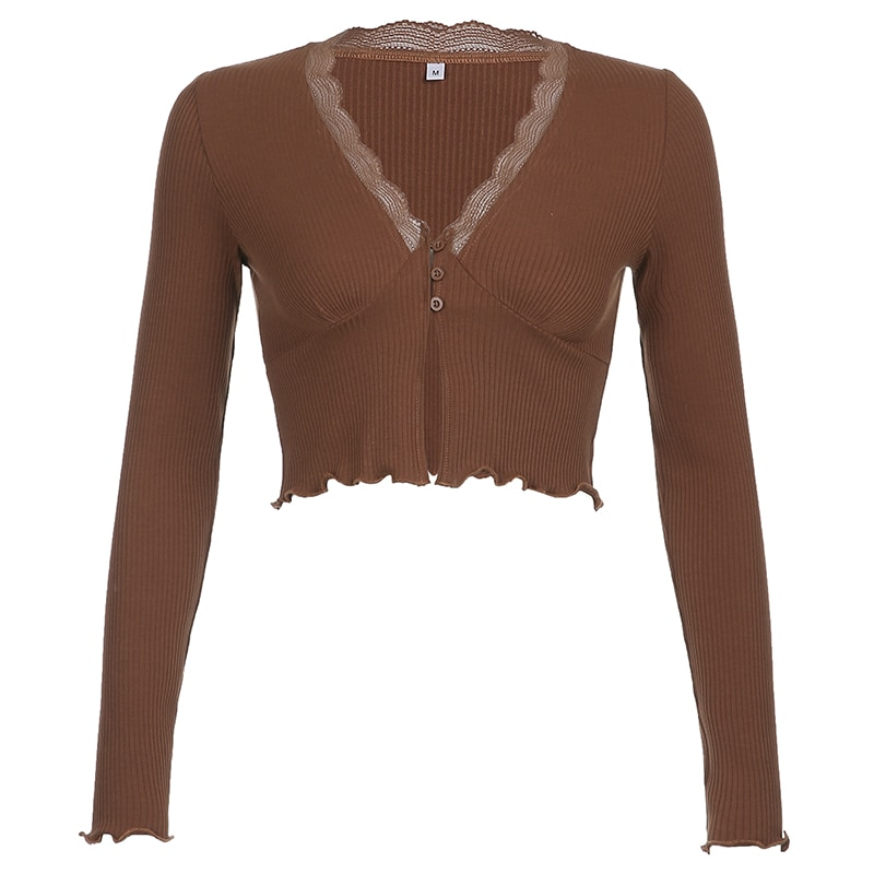 Rapcopter Y2K Crop Top Long Sleeve Knitwear Lace Patched T Shirt V Neck Button Up Knitted Tops Women Deep V-Neck Sexy Clubwear