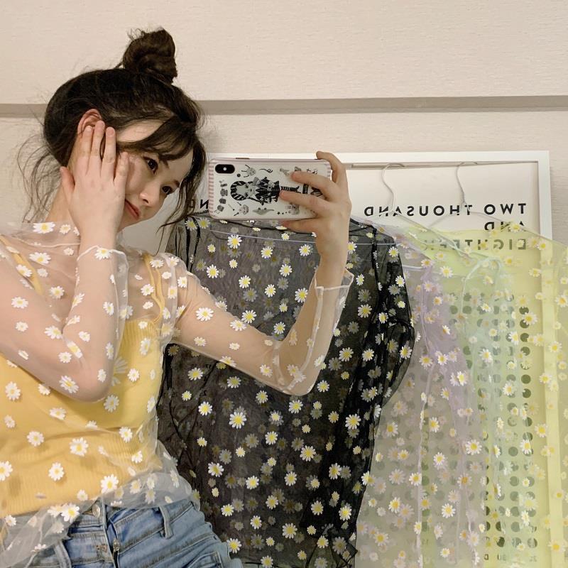 2020 New Arrival Summer Daisy Flower Print Mesh T Shirt Women Korean Long Sleeve Fishnet T Shirt Tops Fashion Sunscreen Tee