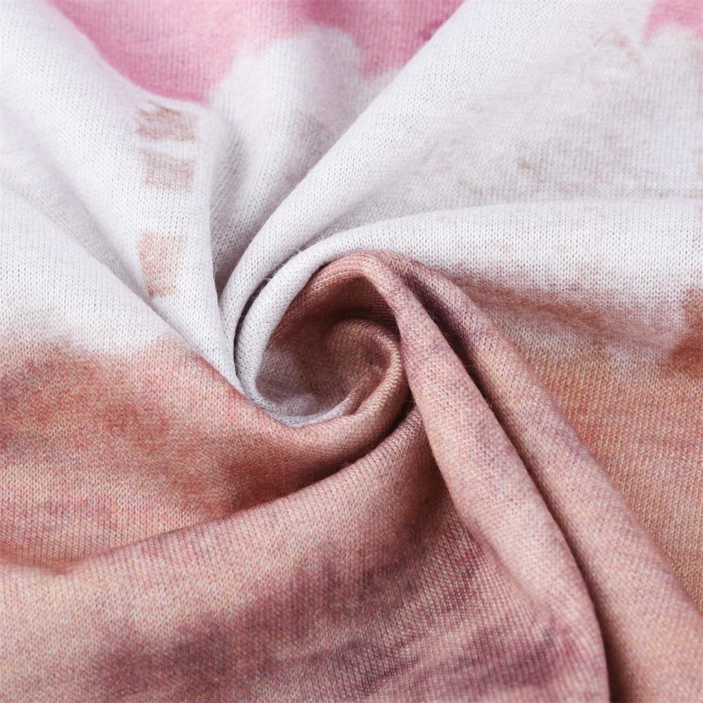 T shirt harajuku tops 2020 Women Color Block Tie-Dye Patchwork Crew-Neck T-Shirt Long Sleeve Tee Tops camiseta mujer футболка