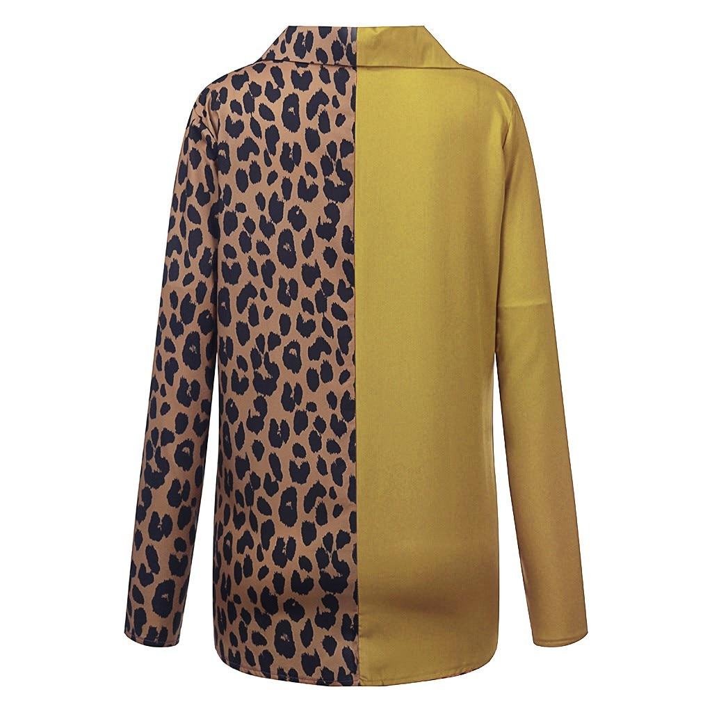 Women's Clothing Autumn and Winter New Fashion Women's Leopard Print Long Sleeve Loose Shirt Chiffon Shirt Plus Size