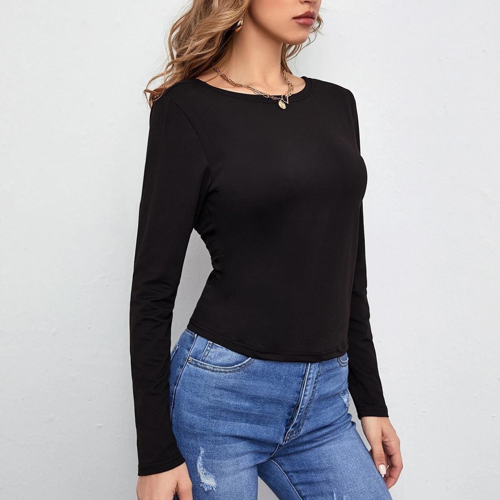 Harajuku Shirts For Women Sexy Bandage Backless Top Tee O-neck Long Sleeve Sport Women T Shirts Blusas Mujer De Moda 2021