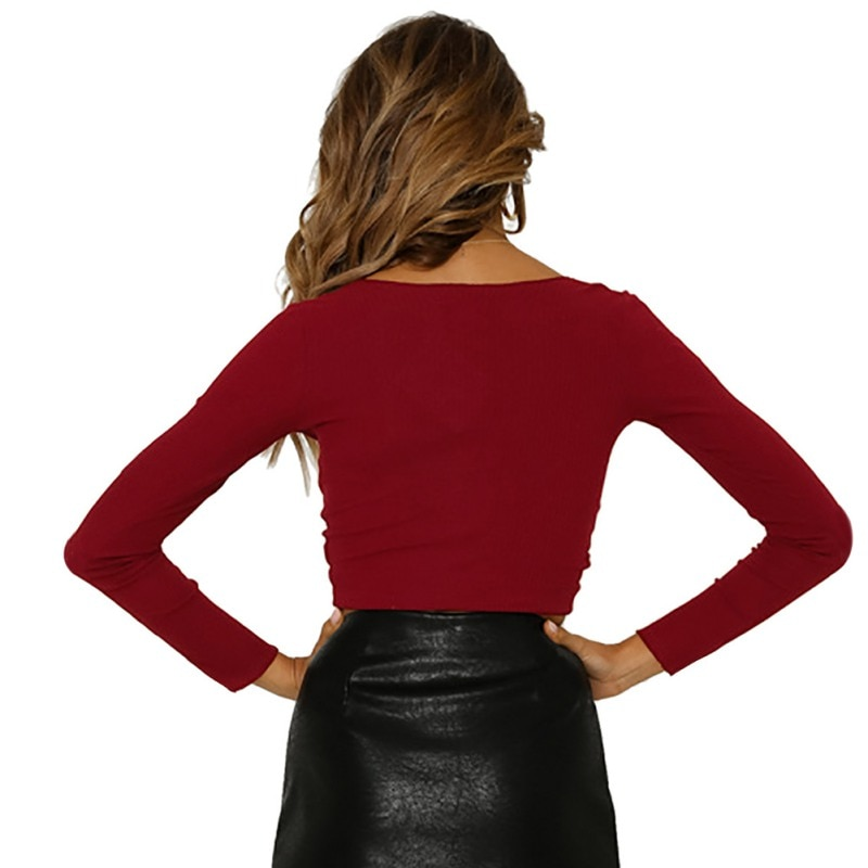 New 2019 New Women's Casual Crop Deep V-Neck Front Bow Tie Ruched Fashion Lady's Solid Top Long Sleeve T-shirt