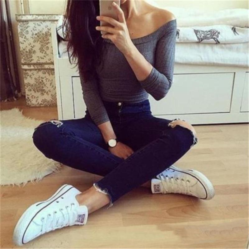 Women Off Shoulder Crop Top T Shirts Long Sleeve Short T-shirts For Women Clothing Fashion Black T-shirt Tops Tees Korean Style