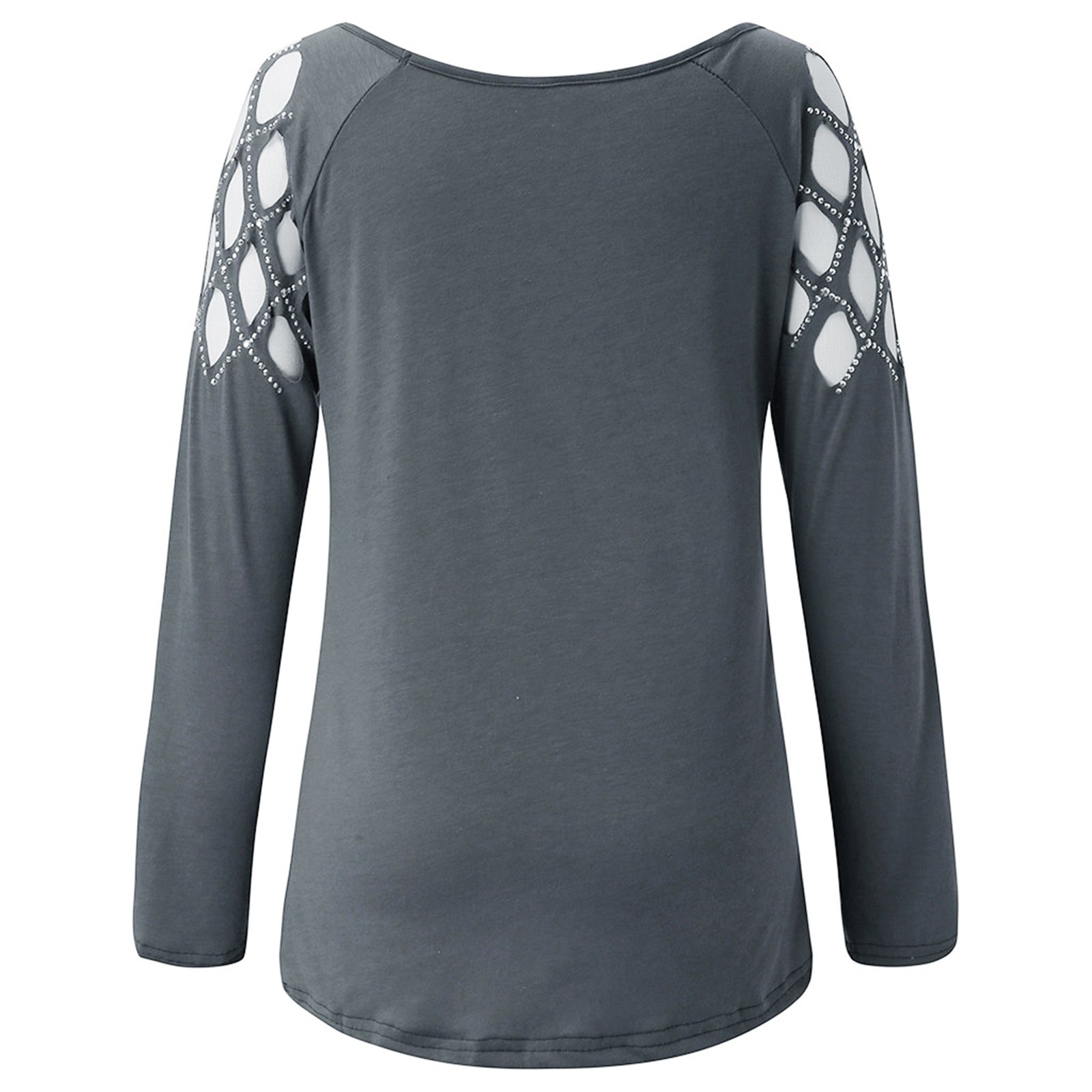 1046 Women Fashion C Neck Hollow-Out Studded Long Sleeve T Shirts Casual Tops Long Sleeve T Shirts Casual Tops Casual Clothes