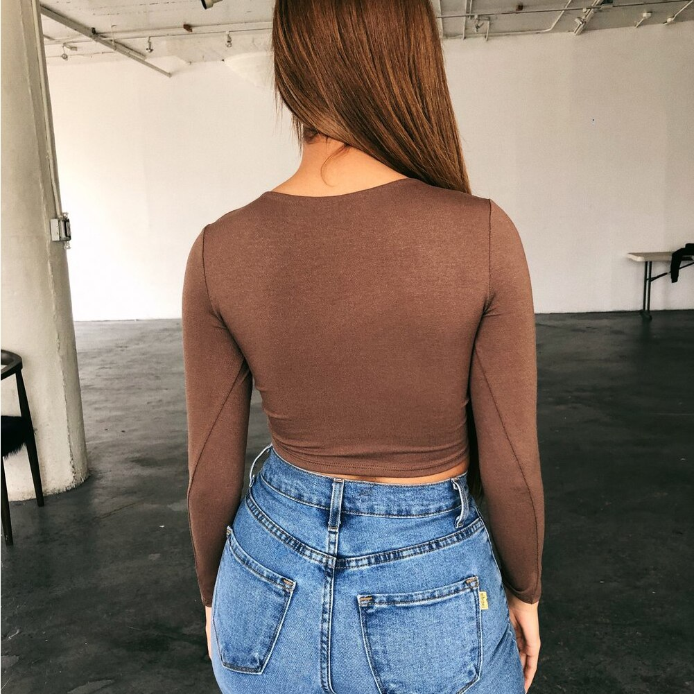 Women T-shirt Casual Round Neck Solid Color Sexy Skinny Slim Tee Top Spring Autumn Slim Long Sleeve Pullover Top