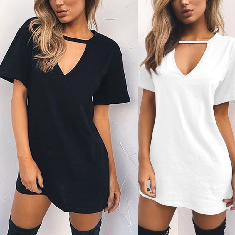 Womens Short Sleeve Sexy Triangle Hollow Halter T-Shirt Dress Solid Color Deep V-Neck Mini Long Tunic Tops Loose Pullover